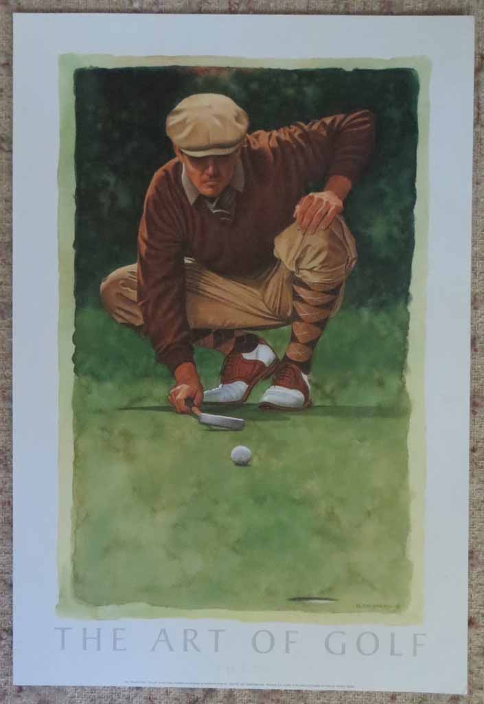 The Art Of Golf: The Line by Glen Green, shown with full margins - offset lithograph reproduction vintage fine art poster print
