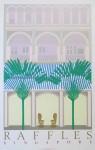 Raffles Singapore by Perry King - original silkscreen fine art poster