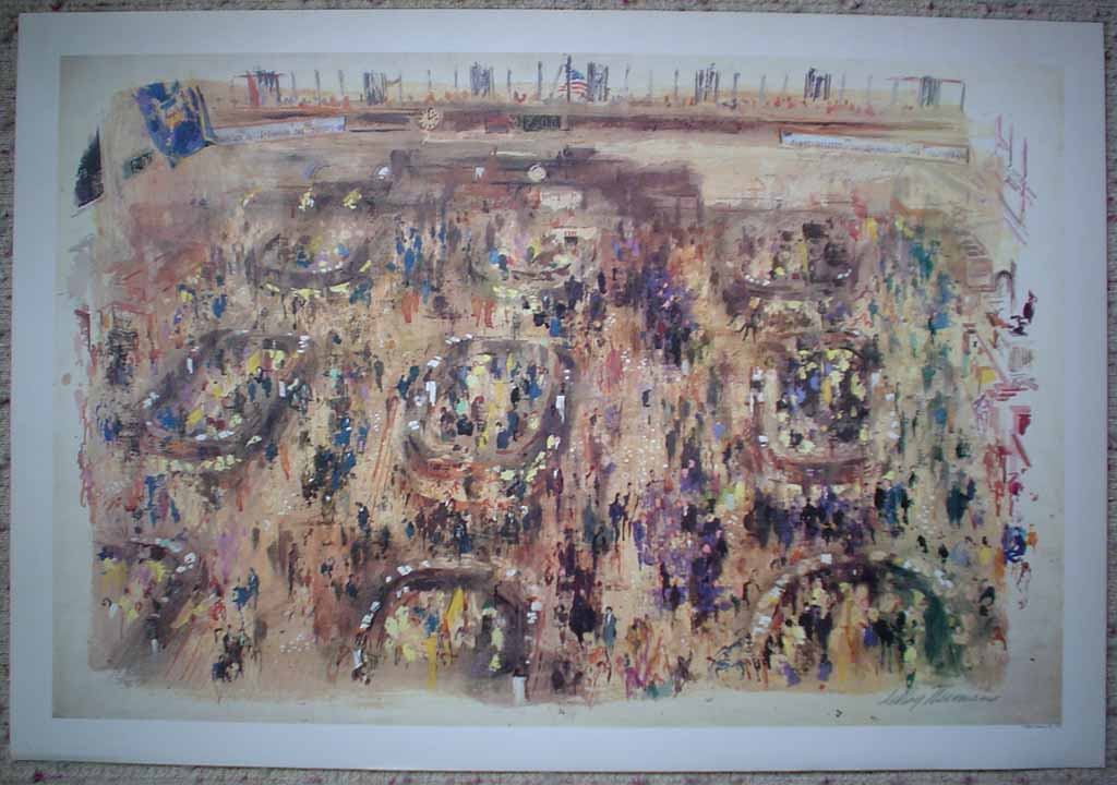 Stock Exchange by LeRoy Neiman, shown with full margins - offset lithograph vintage print fine art reproduction