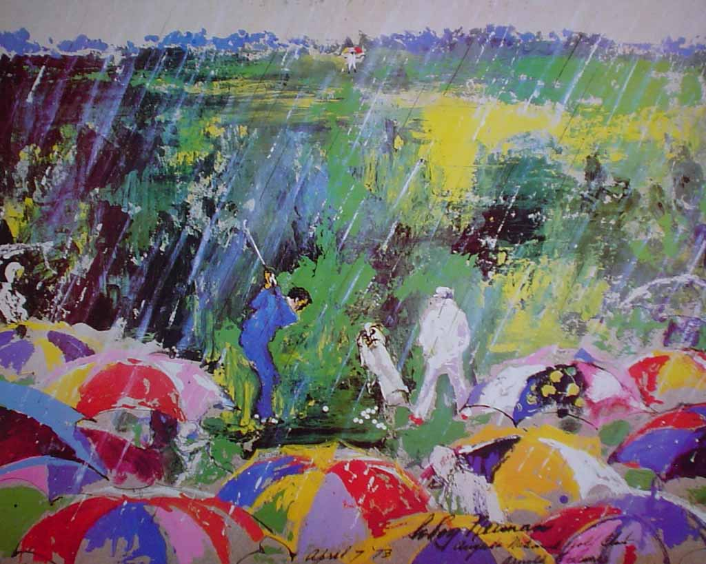 Arnie In The Rain: Arnold Palmer Augusta National Golf Championship 1973 by LeRoy Neiman - offset lithograph vintage poster print art reproduction