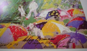 Arnie In The Rain: Arnold Palmer Augusta National Golf Championship 1973 by LeRoy Neiman, detail of information included in image plate - offset lithograph vintage fine art poster print