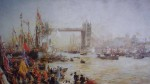 The Opening Of Tower Bridge 1894 by William Lionel Wyllie - offset lithograph reproduction vintage fine art print