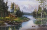 Mountain Lake Cabin Idyll (untitled) by Fred Buchwitz - offset lithograph reproduction vintage fine art print