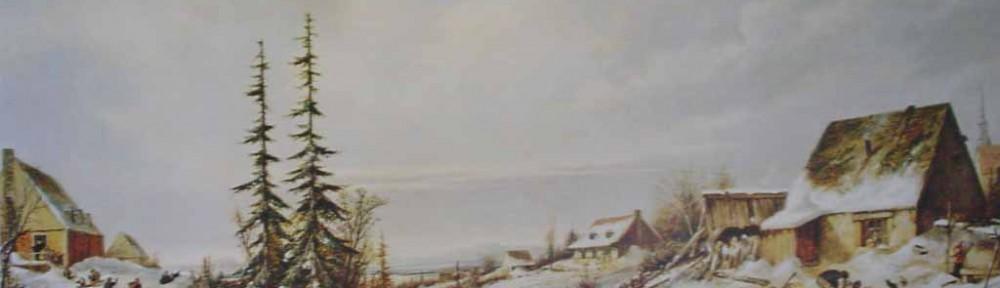 Playtime, Village School by Cornelius Krieghoff - offset lithograph reproduction vintage fine art print