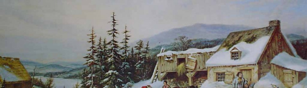 The Habitant Farm by Cornelius Krieghoff - offset lithograph reproduction vintage fine art print