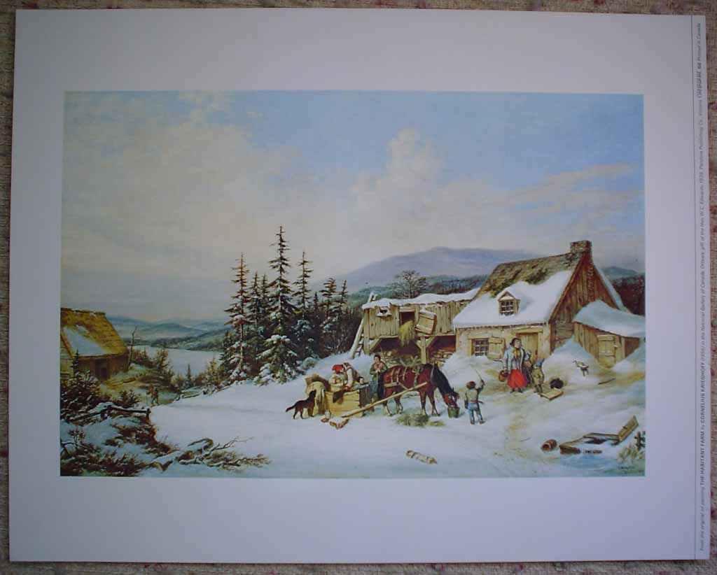 The Habitant Farm by Cornelius Krieghoff, shown with full margins - offset lithograph reproduction vintage fine art print