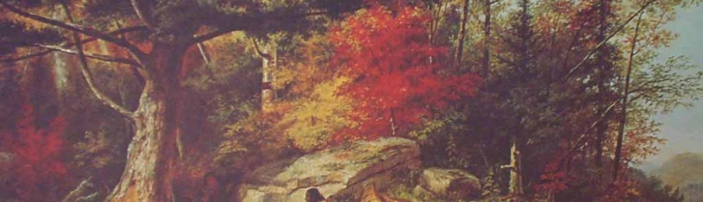 Hurons Camping Near The Big Rock by Cornelius Krieghoff - offset lithograph reproduction vintage fine art print