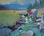 Salmon For Tomorrow by Robert Genn - limited edition of 300, vintage offset lithograph fine art reproduction, signed and numbered AP 3/30 by artist