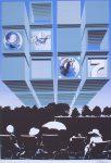 "Astronaut Overhead (untitled) by Bettina von Arnim - 1975 original serigraph/silkscreen, signed in plate, one of 13 different serigraphs from ""Künstlerkalendar '75"" , an oversized calendar featuring original serigraphs from 13 European artists, © 1975 Verlag F. Bruckmann KG, München (Bruckmann Publishing, Munich)"