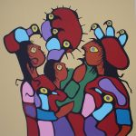 Astral Children by Norval Morrisseau - original limited edition serigraph/silkscreen, titled, numbered 99/175 and signed by artist with butterfly remarque under title, sheet size 24x24 inches/ 61x61cm, circa 1977 (KerrisdaleGallery.com)