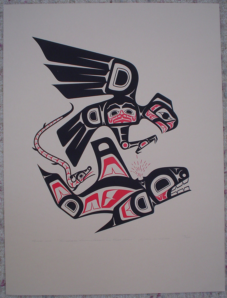 Thunderbird, Lightning Serpent and Killer Whale by Clarence A. Wells, Gitxsan Pacific Northwest Coast First Nations contemporary Native artist, art print shown with full margins - vintage original 1977 limited edition serigraph/silkscreen print - under image in pencil by artist: dated August 1977, titled Thunderbird, Lightning Serpent and Killer Whale, signed Clarence A. Wells, numbered 112/200 - sheet size 24x18 inches/ 61x45.75 cm (KerrisdaleGallery.com)