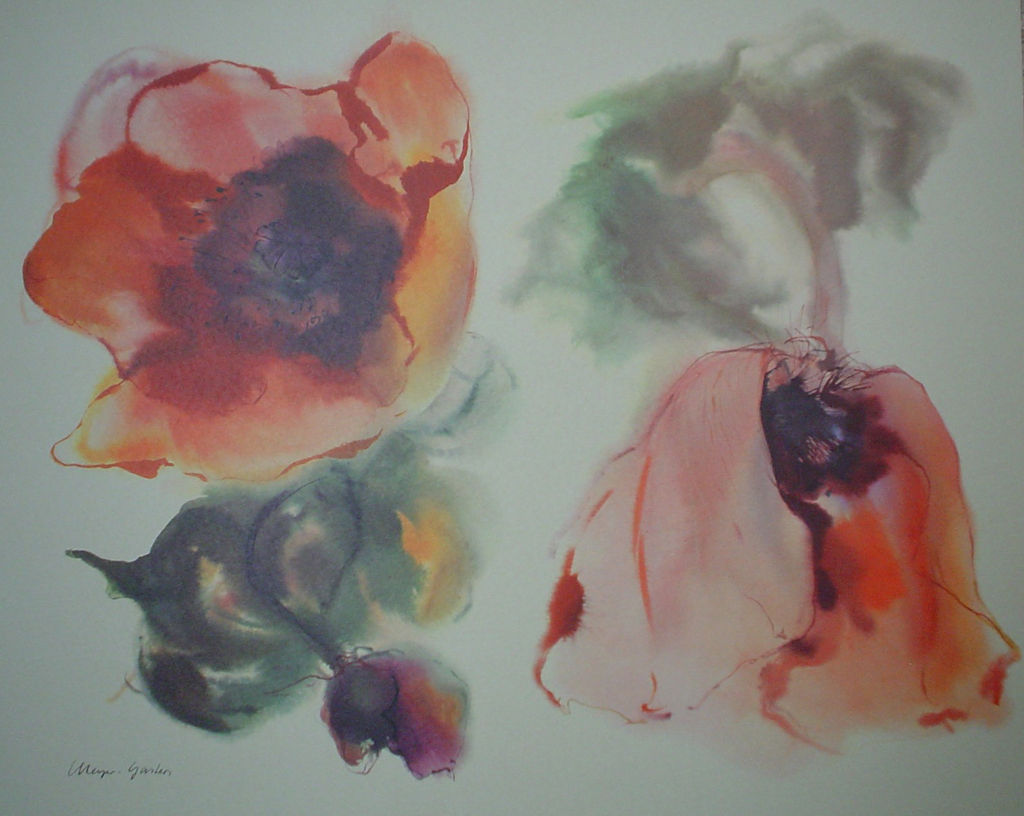 """""""Red Poppies"""", in German: """"Mohn"""" by Klaus Meyer Gasters - vintage 1970's/1980's offset lithograph reproduction watercolour collectible fine art print (size approx. 15 x 18.5 inches/ ca. 38 x 47 cm) - KerrisdaleGallery.com"""