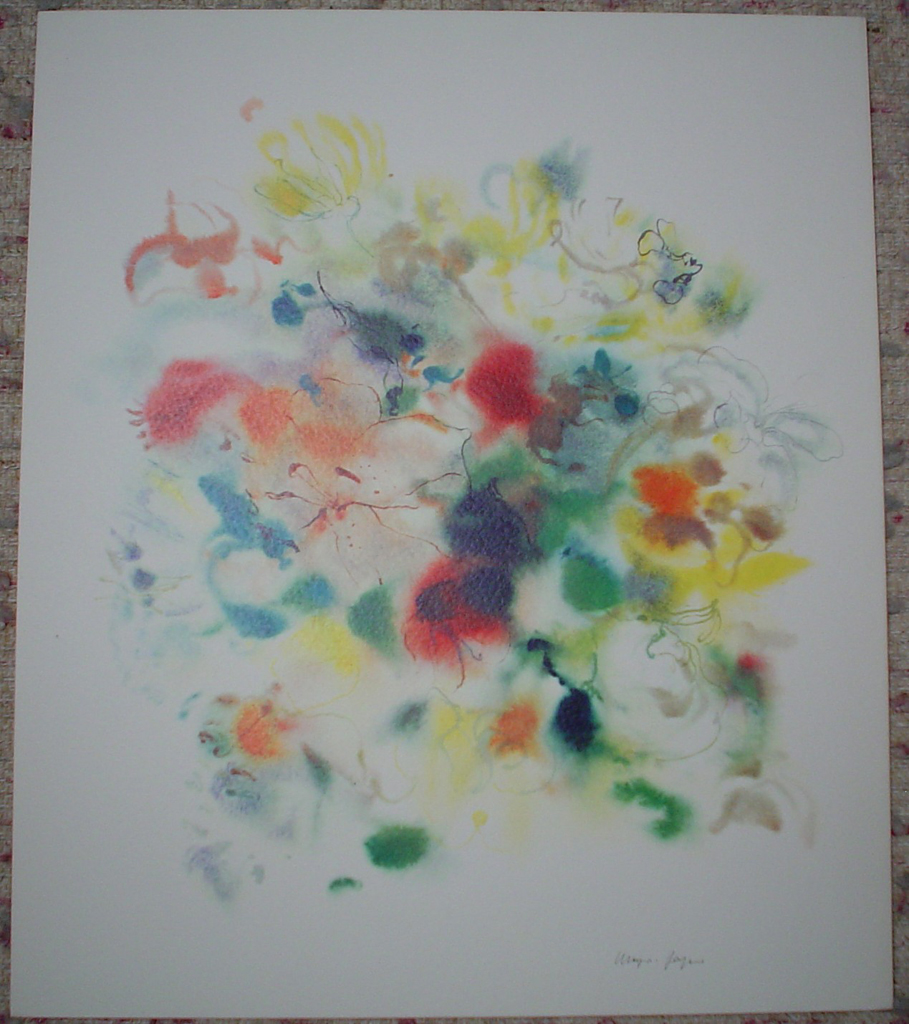 """""""Red Yellow Blue Bouquet"""" by Klaus Meyer Gasters, shown with full margins - vintage 1970's/1980's offset lithograph reproduction watercolour collectible fine art print (size approx. 18.5 x 15 inches/ ca. 47 x 38 cm) - KerrisdaleGallery.com"""