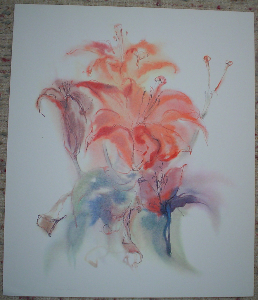 """""""Red Fire Lily"""" by Klaus Meyer Gasters, shown with full margins - vintage 1970's/1980's offset lithograph reproduction watercolour collectible fine art print (size approx. 18.5 x 15 inches/ ca. 47 x 38 cm) - KerrisdaleGallery.com"""
