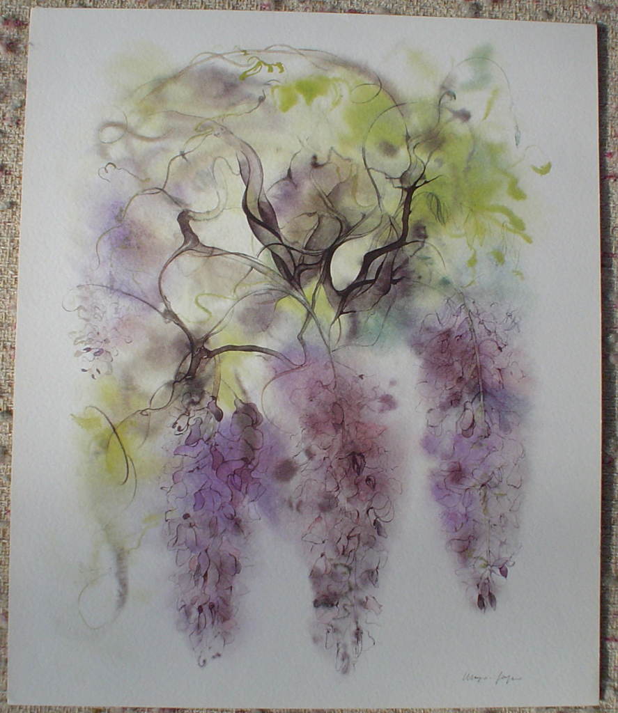 """""""Purple Wisteria"""", in German: """"Glyzinien"""" by Klaus Meyer Gasters, shown with full margins - vintage 1970's/1980's offset lithograph reproduction watercolour collectible fine art print (size approx. 18.5 x 15 inches/ ca. 47 x 38 cm) - KerrisdaleGallery.com"""
