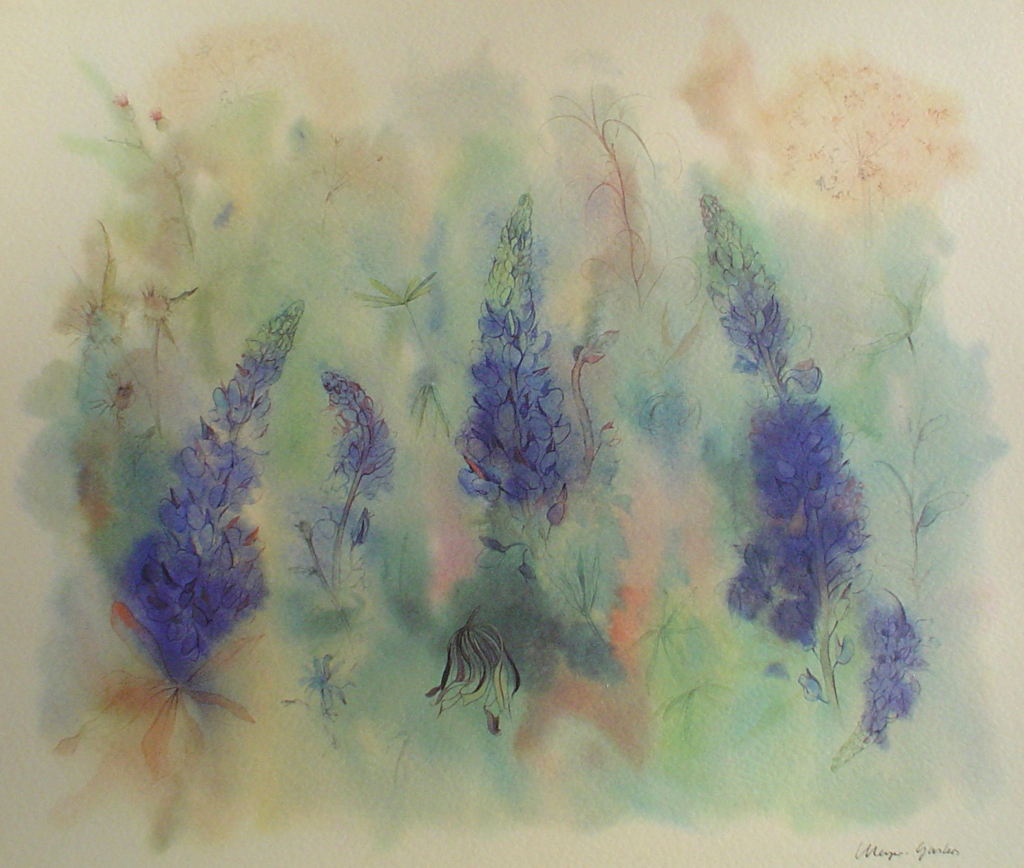 """""""Lupins"""", in German: """"Lupinen"""" by Klaus Meyer Gasters - vintage 1970's/1980's offset lithograph reproduction watercolour collectible fine art print (size approx. 15 x 18.5 inches/ ca 38 x 47 cm) - KerrisdaleGallery.com"""