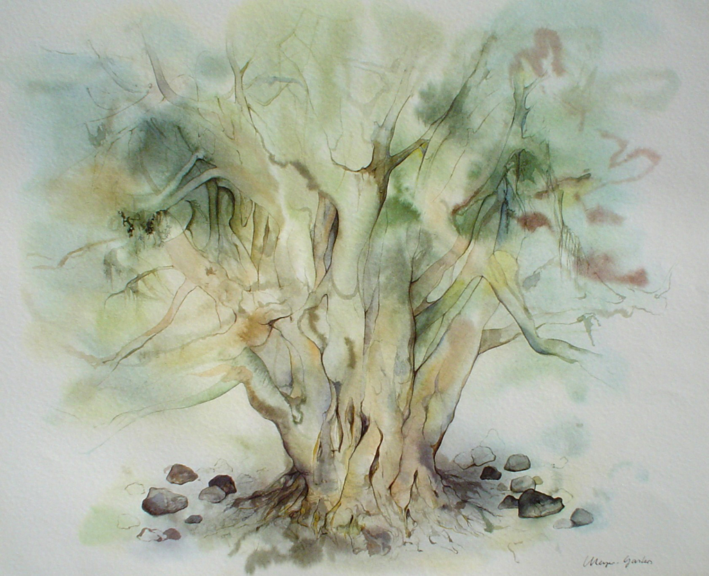 """""""Big Green Tree"""" by Klaus Meyer Gasters - vintage 1970's/1980's offset lithograph reproduction watercolour collectible fine art print (size approx. 15 x 18.5 inches/ ca 38 x 47 cm) - KerrisdaleGallery.com"""
