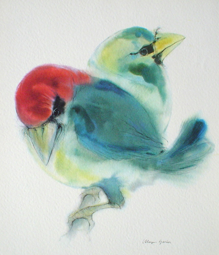 """""""Two Blue Barbet Birds"""", in German:""""Bartvoegel"""" by Klaus Meyer Gasters - vintage 1970's offset lithograph reproduction watercolour collectible art print (size 12.5 x 10.75 inches/31.75 x 27 cm)"""