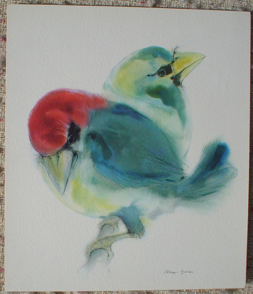 """""""Two Blue Barbet Birds"""", in German: """"Bartvoegel"""" by Klaus Meyer Gasters, shown with full margins - vintage 1970's offset lithograph reproduction watercolour collectible art print (size 12.5 x 10.75 inches/31.75 x 27 cm) - KerrisdaleGallery.com"""