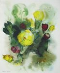 """""""Yellow Cactus Flowers"""" by Klaus Meyer Gasters - vintage 1977 offset lithograph reproduction watercolour collectible fine art print (size 12.5 x 10.75 inches/31.75 x 27 cm) - KerrisdaleGallery.com"""