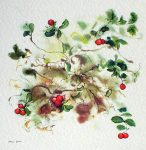 """""""Red Cranberries"""", in German:""""Preiselbeeren"""" by Klaus Meyer Gasters - vintage offset lithograph reproduction watercolour collectible art print from 1981, (size 12 x 11.5 inches/30.5 x 29.25 cm) - KerrisdaleGallery.com"""