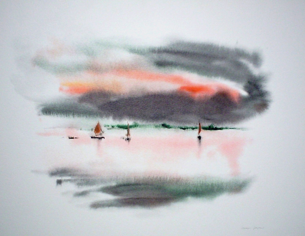 """""""Red Sky Sailboats"""" by Klaus Meyer Gasters - vintage 1970's/1980's offset lithograph reproduction watercolour collectible fine art print (size approx. 15 x 18.5 inches/ ca 38 x 47 cm) - KerrisdaleGallery.com"""