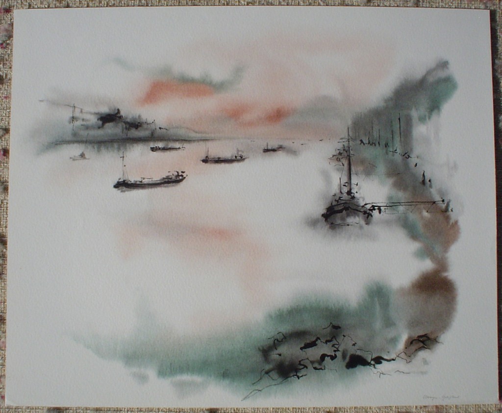 """""""Red Sky Trawlers Rhein River"""", in German: """"Rhein Bei Bingen"""" by Klaus Meyer Gasters, shown with full margins - vintage 1970's/1980's offset lithograph reproduction watercolour collectible fine art print (size approx. 15 x 18.5 inches/ ca 38 x 47 cm) - KerrisdaleGallery.com"""