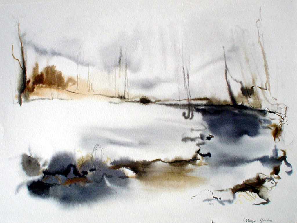 """""""White Winter Pond"""", in German: """"Bach Im Winter"""" by Klaus Meyer Gasters - vintage 1970's/1980's offset lithograph reproduction watercolour collectible fine art print (size approx. 15 x 18.5 inches/ ca 38 x 47 cm) - KerrisdaleGallery.com"""