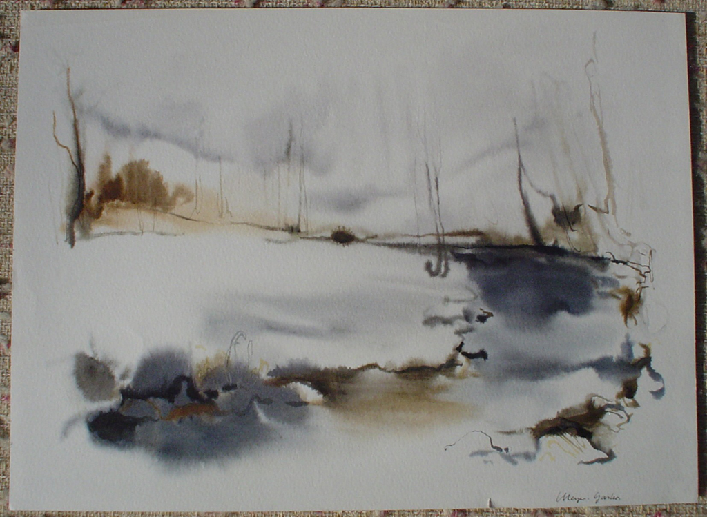 """""""White Winter Pond"""", in German:""""Bach Im Winter"""" by Klaus Meyer Gasters, shown with full margins - vintage 1970's/1980's offset lithograph reproduction watercolour collectible fine art print (size approx. 15 x 18.5 inches/ ca 38 x 47 cm) - KerrisdaleGallery.com"""