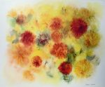 """""""Golden Chrysanthemums"""" by Klaus Meyer Gasters - vintage 1970's/1980's offset lithograph reproduction watercolour collectible fine art print (size approx. 15 x 18.5 inches/ ca 38 x 47 cm) - KerrisdaleGallery.com"""