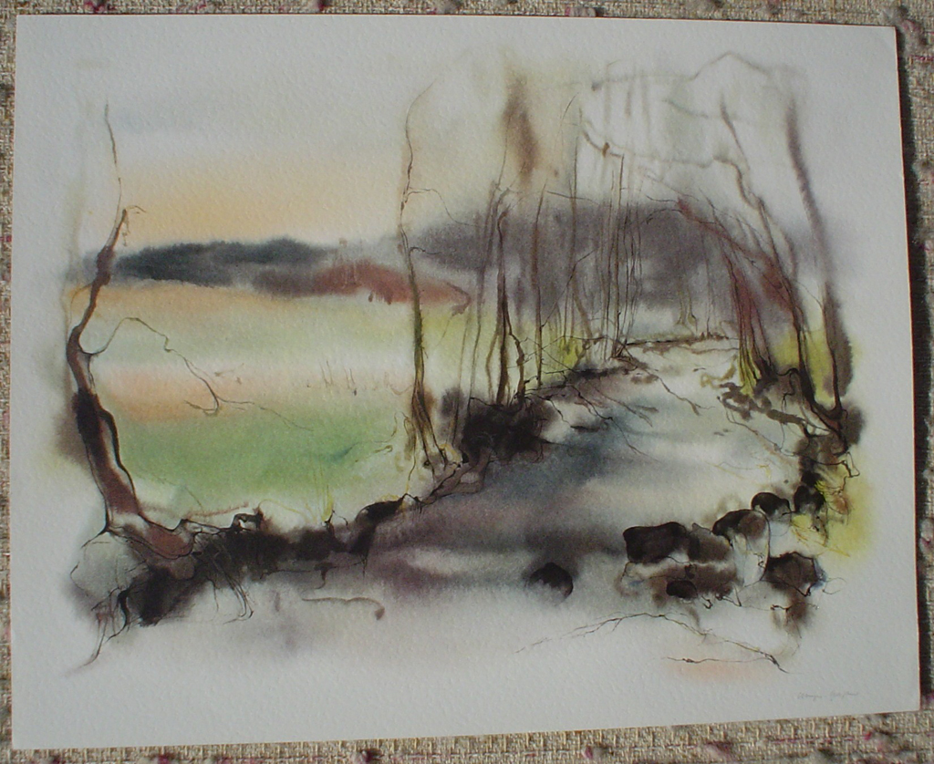 """""""Green Spring Pond"""", in German: """"Bach Im Fruehling"""" by Klaus Meyer Gasters, shown with full margins - vintage 1970's/1980's offset lithograph reproduction watercolour collectible fine art print (size approx. 15 x 18.5 inches/ ca 38 x 47 cm) - KerrisdaleGallery.com"""