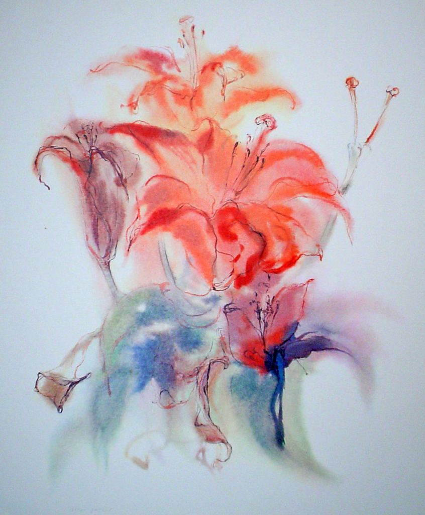 """""""Fire Lily"""", in German: """"Glyzinien"""" by Klaus Meyer Gasters - vintage 1970's/1980's offset lithograph reproduction watercolour collectible fine art print (size approx. 15 x 18.5 inches/ ca 38 x 47 cm) - KerrisdaleGallery.com"""