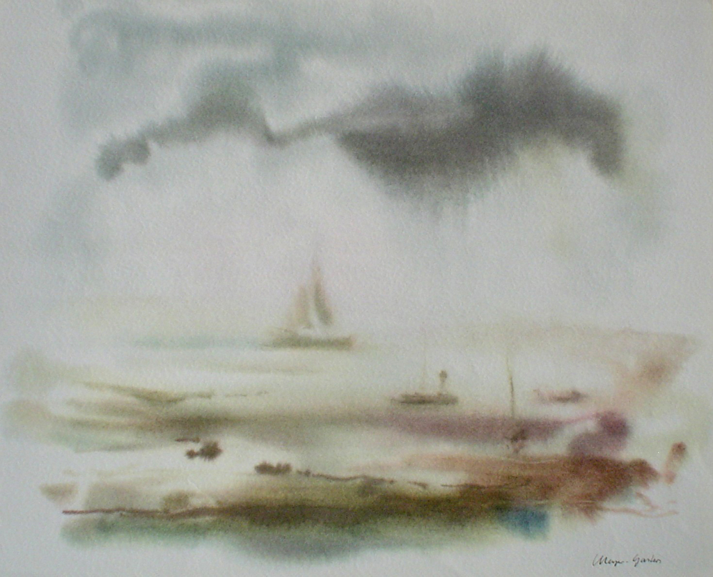 """""""Big Sailboat Misty Scene"""" by Klaus Meyer Gasters - vintage 1970's/1980's offset lithograph reproduction watercolour collectible fine art print (size approx. 15 x 18.5 inches/ ca 38 x 47 cm) - KerrisdaleGallery.com"""