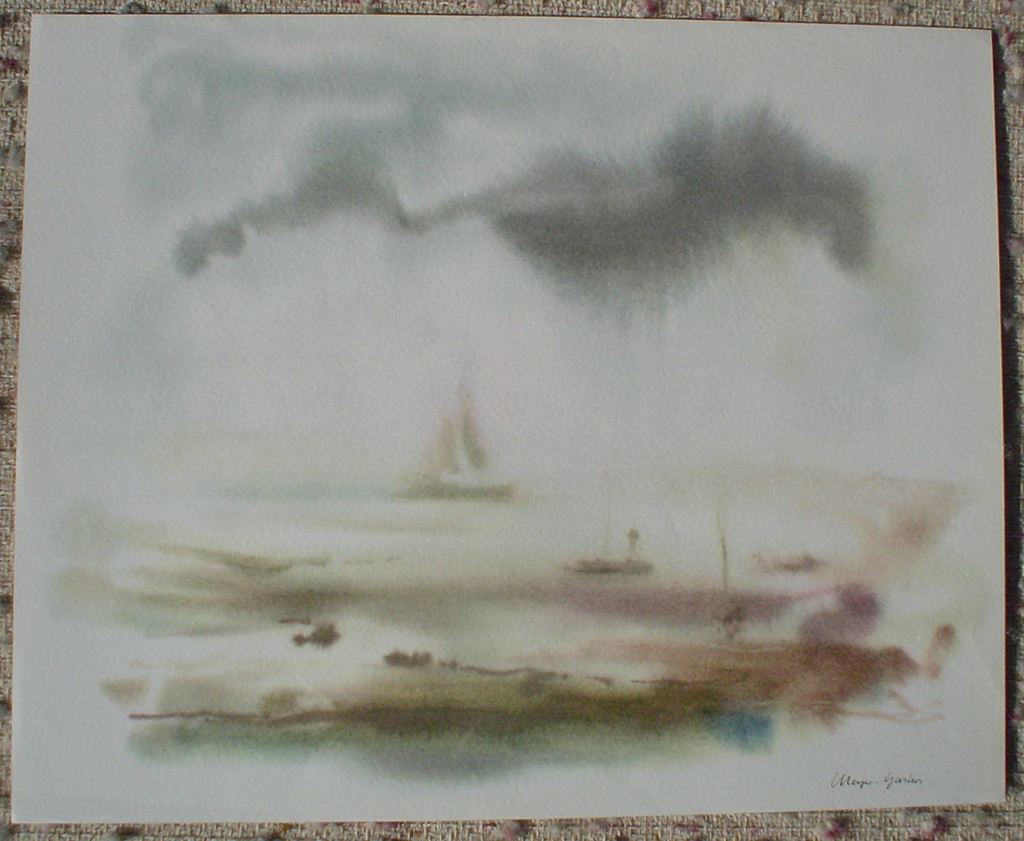"""""""Big Sailboat Misty Scene"""" by Klaus Meyer Gasters, shown with full margins - vintage 1970's/1980's offset lithograph reproduction watercolour collectible fine art print (size approx. 15 x 18.5 inches/ ca 38 x 47 cm) - KerrisdaleGallery.com"""