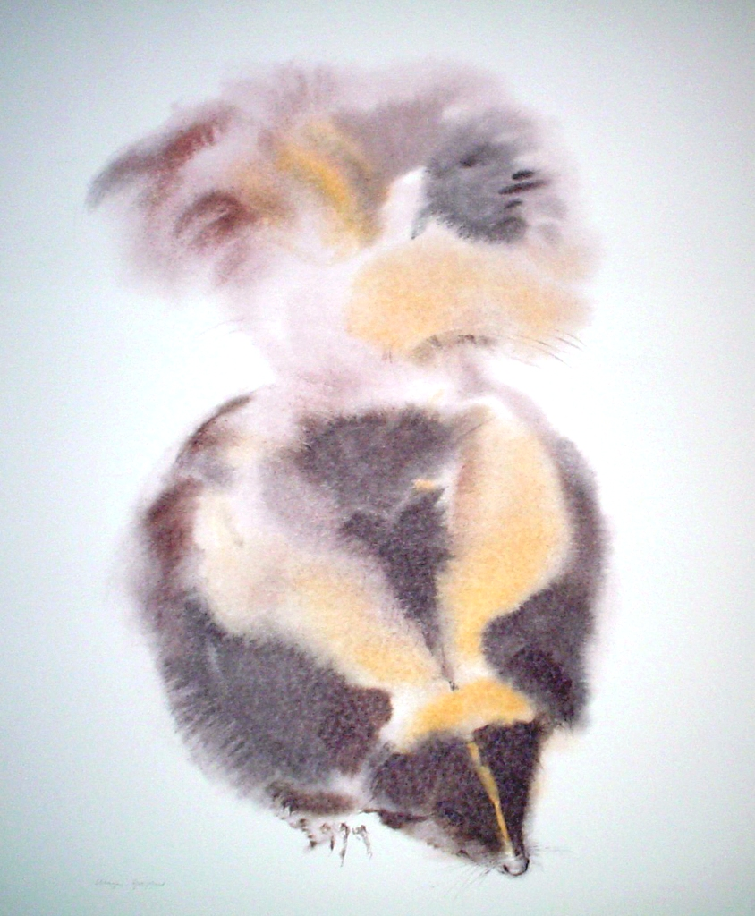 """""""Skunk"""" by Klaus Meyer Gasters - vintage 1970's/1980's offset lithograph reproduction watercolour collectible fine art print (size approx. 15 x 18.5 inches/ ca 38 x 47 cm)- KerrisdaleGallery.com"""