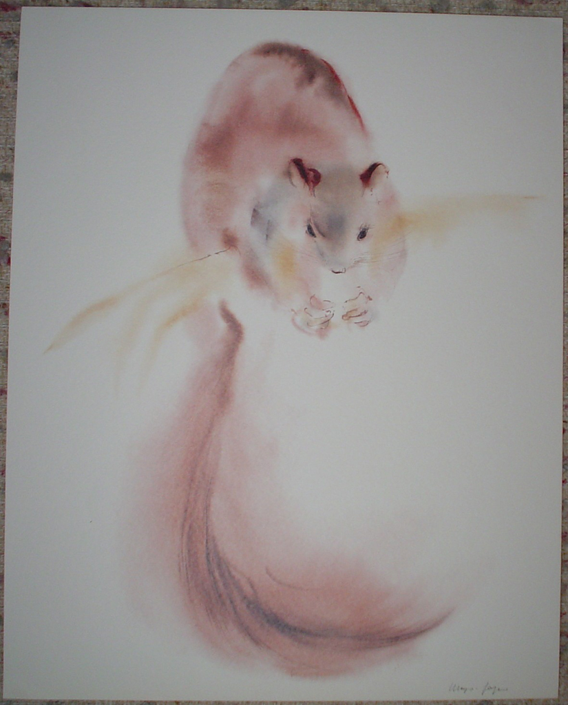 """""""Red Squirrel"""" by Klaus Meyer Gasters, shown with full margins - vintage 1970's/1980's offset lithograph reproduction watercolour collectible fine art print (size approx. 15 x 18.5 inches/ ca 38 x 47 cm) - KerrisdaleGallery.com"""