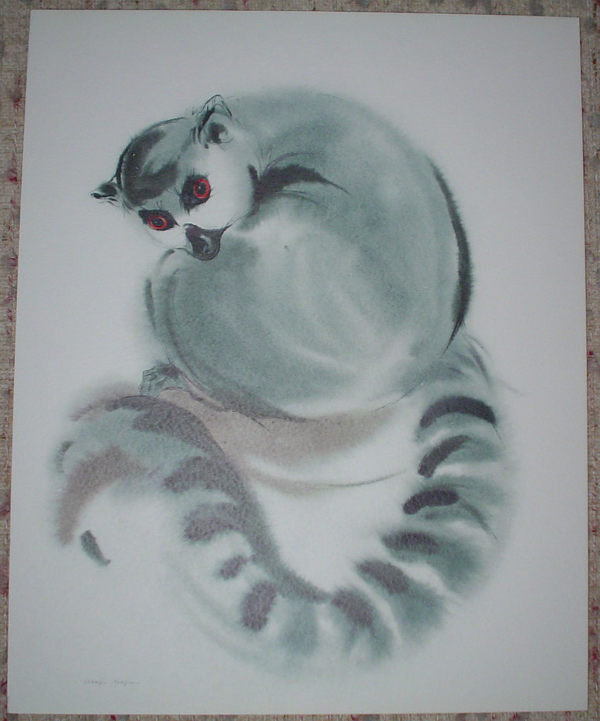 """""""Ring-Tailed Lemur Primate"""", in German: """"Katta"""" by Klaus Meyer Gasters, shown with full margins - vintage 1970's/1980's offset lithograph reproduction watercolour collectible fine art print (size approx. 15 x 18.5 inches/ ca 38 x 47 cm) - KerrisdaleGallery.com"""