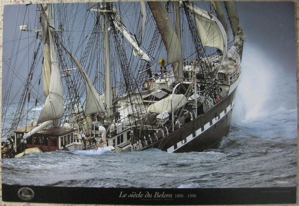 """KerrisdaleGallery.com - Stock ID#PP096ph - """"Le Siecle Du Belem, 1896-1996"""" by Philip Plisson, shown with full margins - offset lithograph commemoration poster - vintage collectible art print"""