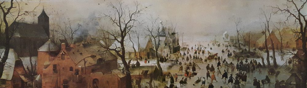 """KerrisdaleGallery.com - Stock ID# AH201ph - """"Winter Scene With Ice Skaters"""" by Hendrik Avercamp - offset lithograph reproduction, printed in The Netherlands - vintage collectible art print"""