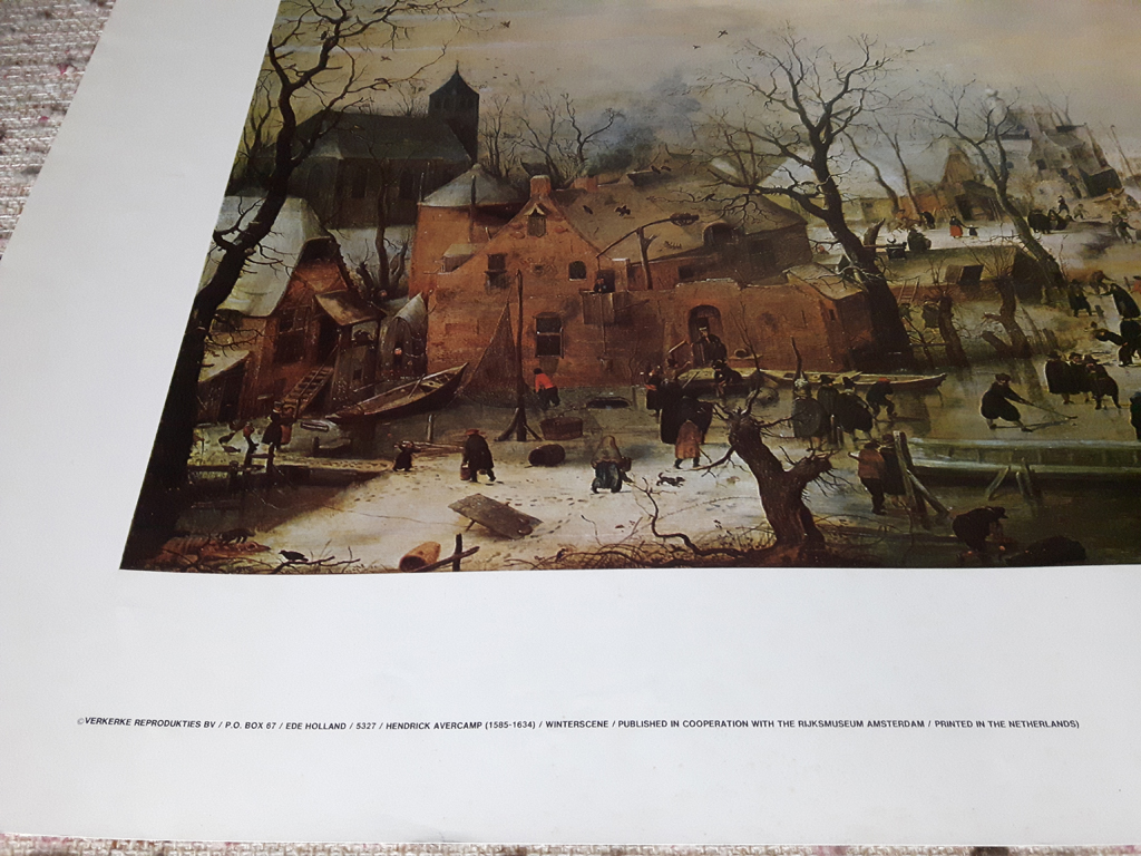"""KerrisdaleGallery.com - Stock ID# AH201ph - """"Winter Scene With Ice Skaters"""" by Hendrik Avercamp, detail to show text and condition - offset lithograph reproduction, printed in The Netherlands - vintage collectible art print"""