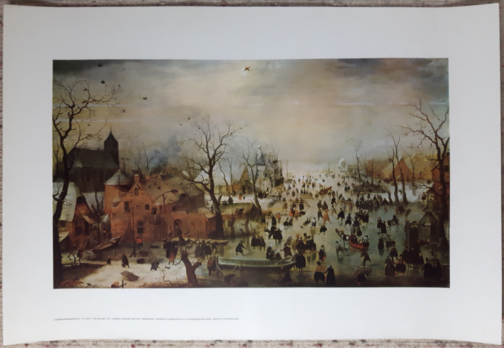 """KerrisdaleGallery.com - Stock ID# AH201ph - """"Winter Scene With Ice Skaters"""" by Hendrik Avercamp, shown with full margins - offset lithograph reproduction, printed in The Netherlands - vintage collectible art print"""