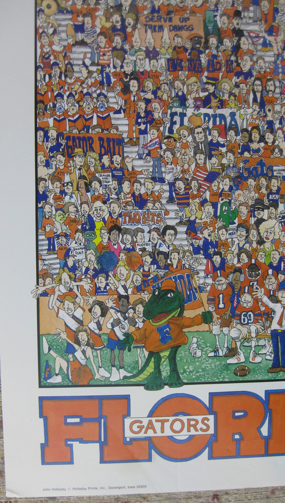"""KerrisdaleGallery.com - Stock ID#HJ980pv - """"University of Florida Gators Football"""" by John Holladay, detail to show text, mascot, cheerleaders, fans - offset lithograph poster - University of Florida, Gainesville FL, UF Gators, Florida Field, The Swamp - vintage 1980s collectible poster/ art print"""