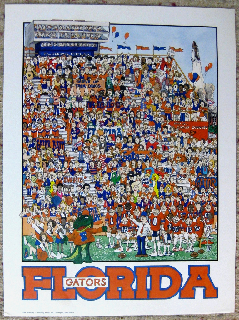 """KerrisdaleGallery.com - Stock ID#HJ980pv - """"University of Florida Gators Football"""" by John Holladay, shown with full margins - offset lithograph poster - University of Florida, Gainesville FL, UF Gators, Florida Field, The Swamp - vintage 1980s collectible poster/ art print"""