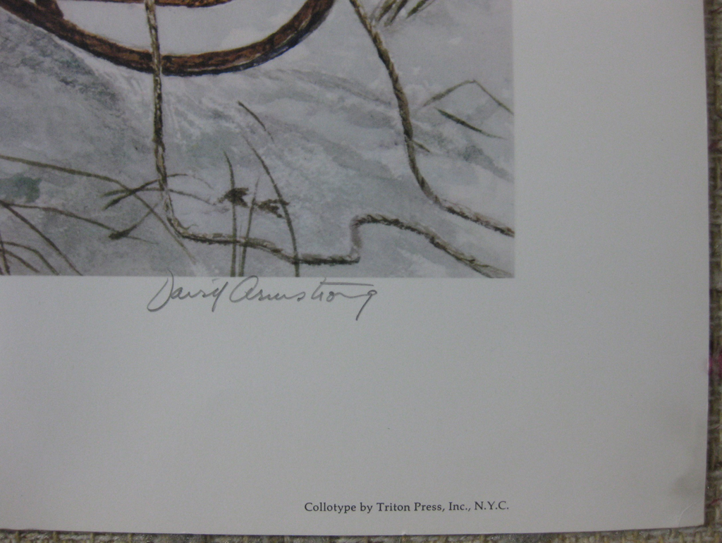 KerrisdaleGallery.com - stock ID#AD662ch-sn - The Last Run by David Armstrong, detail to show signature - Limited Edition 662/950, 1980 collotype printed in U.S.A. by Triton Press; numbered and signed in pencil by the artist