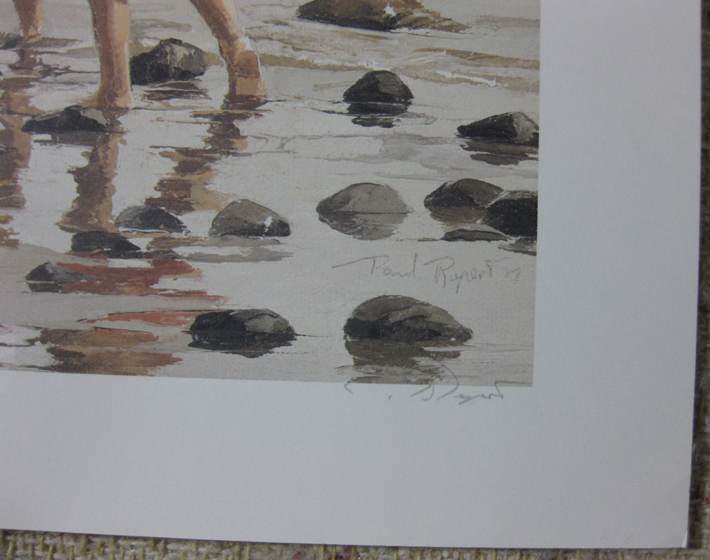 KerrisdaleGallery.com - stock ID#RP235ph-snt - Low Tide by Paul Rupert, detail to show artist signatures, hand-signed and in plate - Limited Edition 235/950, 1987 offset lithograph; numbered, titled and signed in pencil by the artist