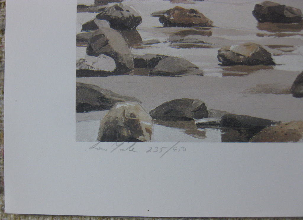 KerrisdaleGallery.com - stock ID#RP235ph-snt - Low Tide by Paul Rupert, detail to show edition, title and condition - Limited Edition 235/950, 1987 offset lithograph; numbered, titled and signed in pencil by the artist