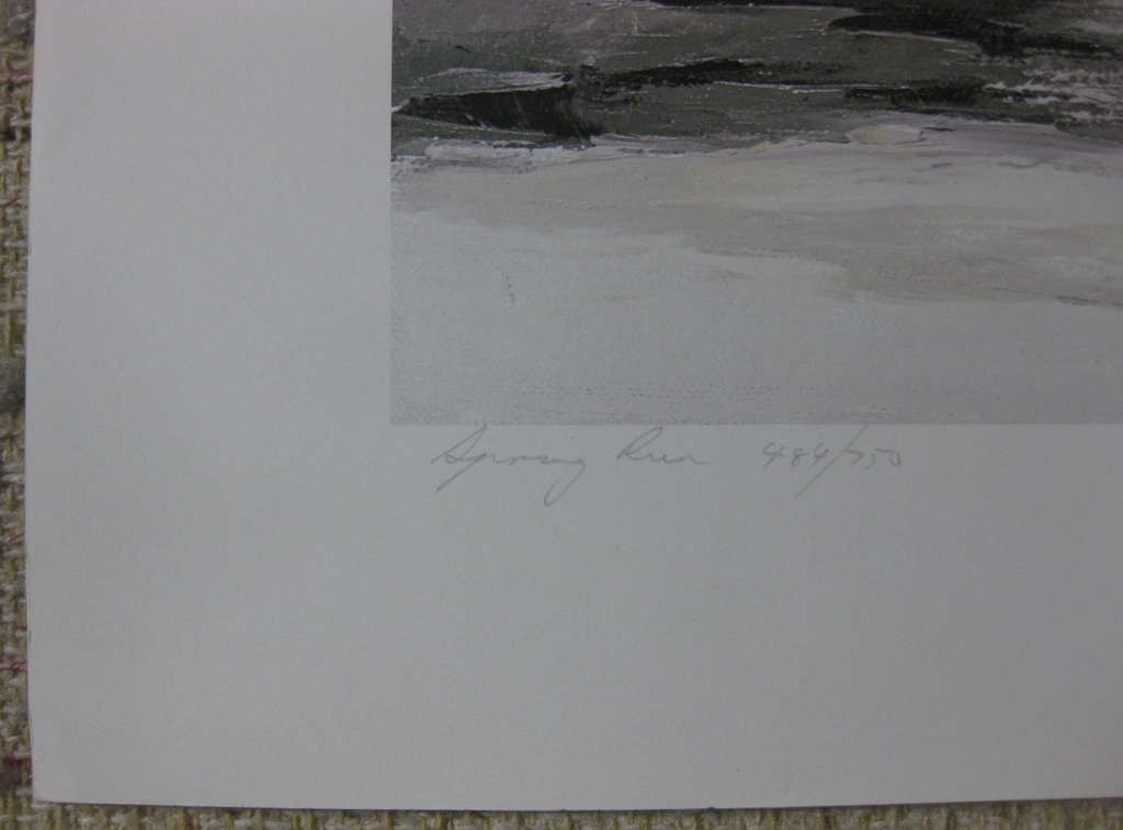 KerrisdaleGallery.com - stock ID#RP484ph-snt - Spring Run by Paul Rupert, detail to show title, edition and conditon - Limited Edition 484/750, 1986 offset lithograph; numbered, titled and signed in pencil by the artist