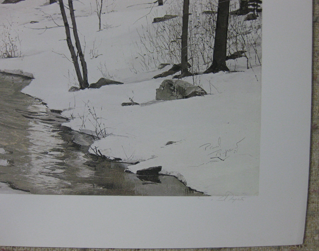 KerrisdaleGallery.com - stock ID#RP484ph-snt - Spring Run by Paul Rupert, detail to show signature - Limited Edition 484/750, 1986 offset lithograph; numbered, titled and signed in pencil by the artist
