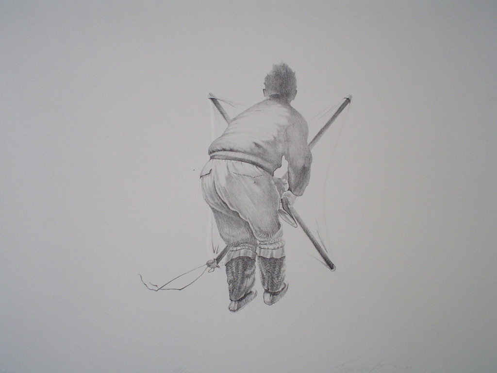 KerrisdaleGallery.com - Stock ID#tr710lh-sntd - Seal Hunter by Roy Tomlinson, closeup view - 1979 original lithograph with embossing. Signed, titled, dated and numbered 10/24