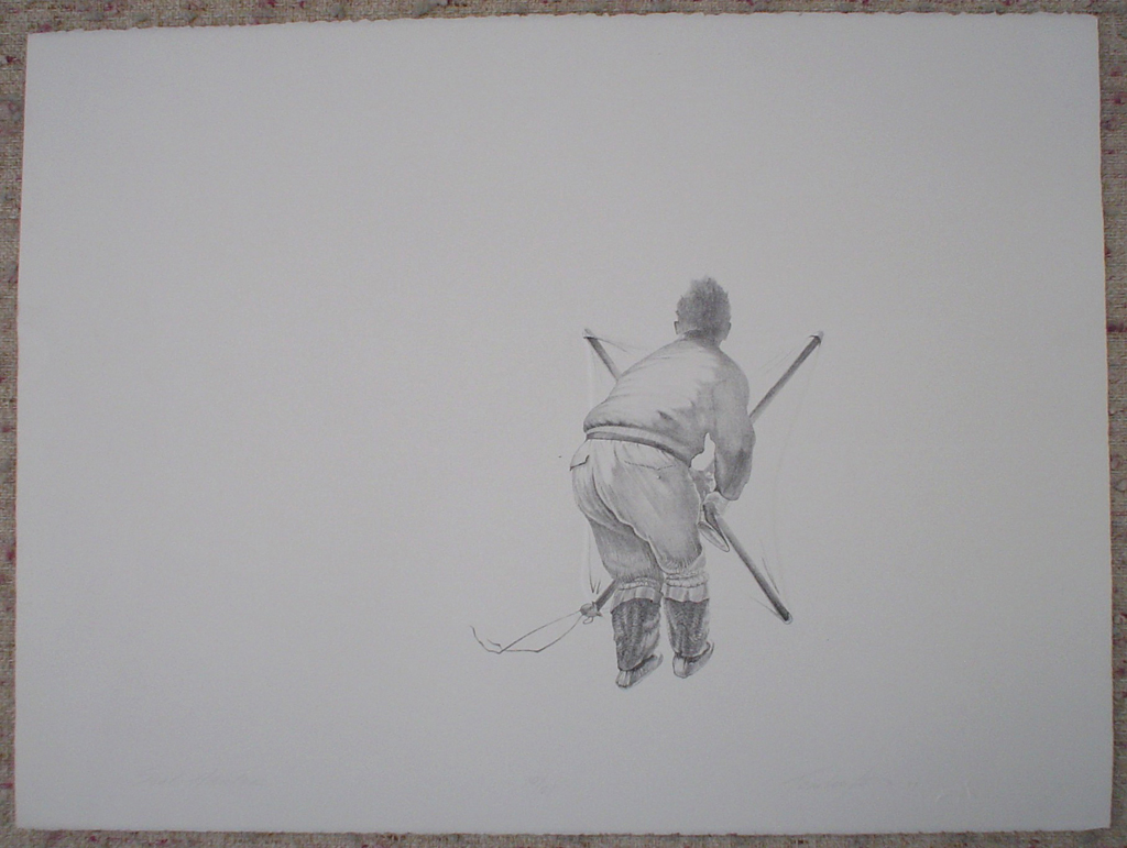 KerrisdaleGallery.com - Stock ID#tr710lh-sntd - Seal Hunter by Roy Tomlinson, shown with full margins - 1979 original lithograph with embossing. Signed, titled, dated and numbered 10/24